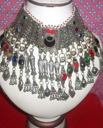 Kuchi Tribal Necklace with metal fish and pearl