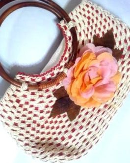White Wooden Hull Fabric Flower Bag