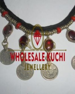 Dark Red Pearl & Coins Necklace