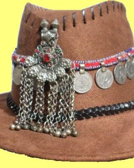 Tribal Cowboy Brown Hat with Pendant