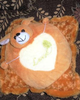 Square Cushion with Small Teddy Bear