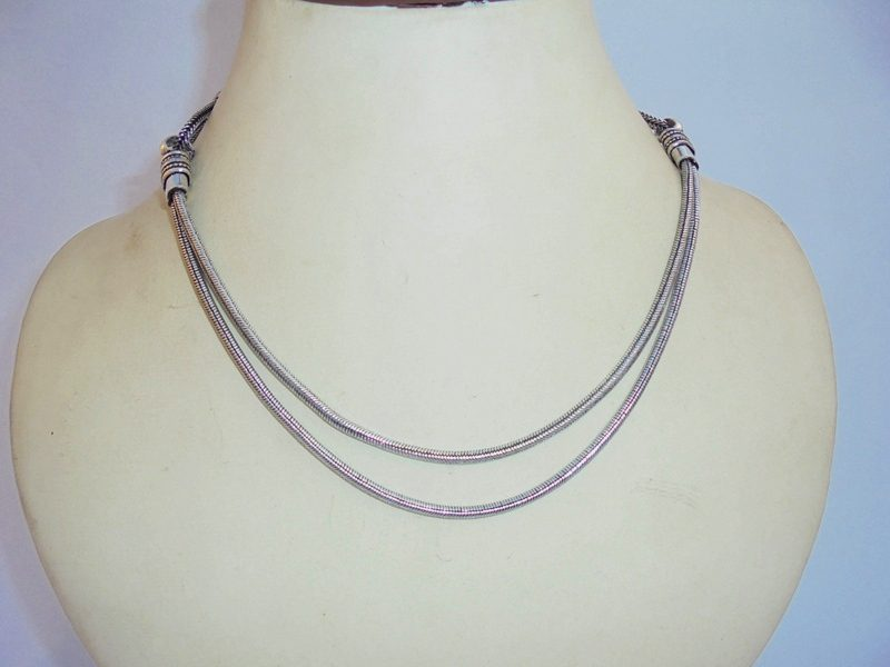 Sleeping Snake Silver Necklace -IN