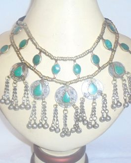 Green Stone Necklace With Coins