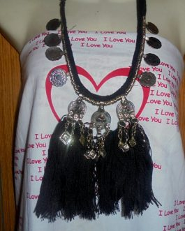 Gypsy Metal Necklace With Black Lace