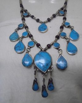 2 Lines Turquoise Vintage Necklace