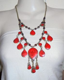 2 Lines Coral Vintage Necklace