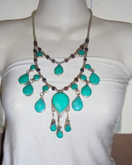 2 Lines Malachite Vintage Necklace