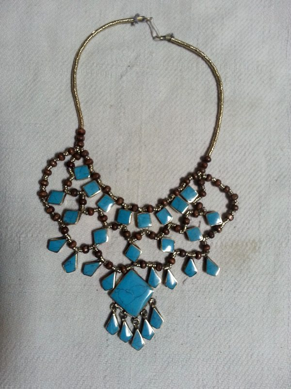 Square Turquoise  Stone Tribal Necklace