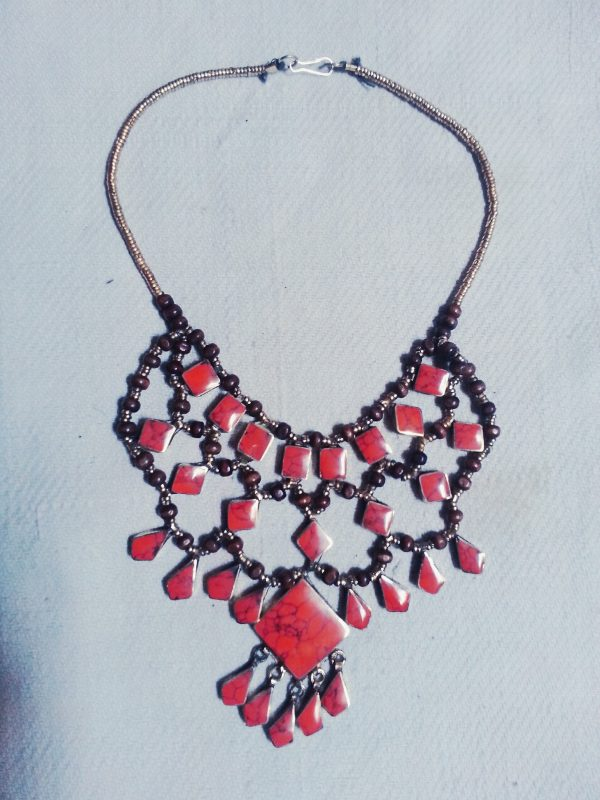 Square Coral Stone Tribal Necklace