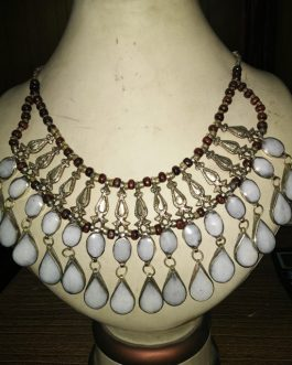 Double White Stone Line & Metal Fish Necklace