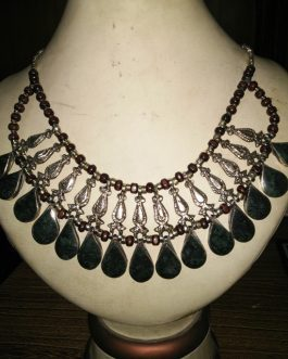 Dark Green Cum Black Stone & Metal Fish Necklace