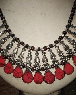 Coral Stone & Metal Fish Necklace