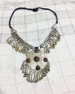 German Silver Tribal Round Necklace