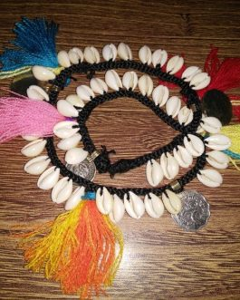 Double Layrs Shell, Coins & Satrangi Thread Anklet