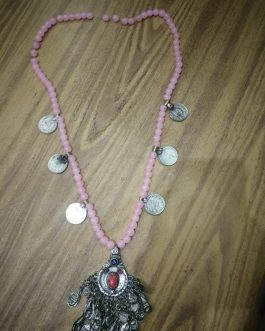 Pink Stone Old Pendant Coins Necklace