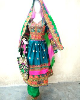 Dark Green Afghan Tribal Dress
