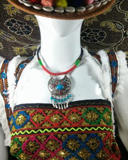 Chokar of Green & Red Cord With Pendant-2