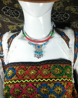Chokar of Green & Red Cord With Pendant-7