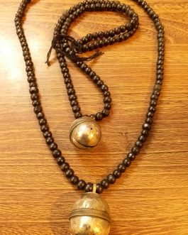 Black Wooden Beaded & Bell Pendant Necklace
