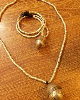 Metal Beaded & Bell Pendant Necklace