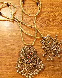 Round Pendant & Metal Beaded Necklace