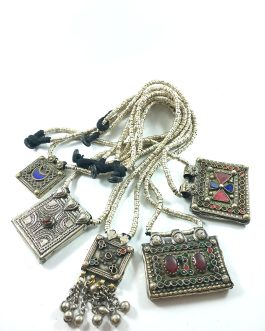 Afghan Pendant Silver Beaded Necklace