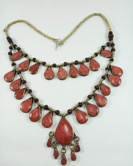 Coral Double layer stone Afghani Necklace
