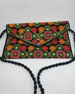 Velvet Shoulder Embroidery Bag