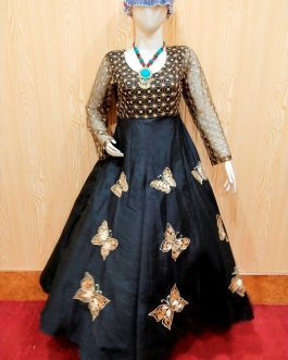 Raw Silk Fabric Embroidered Fairy Frock