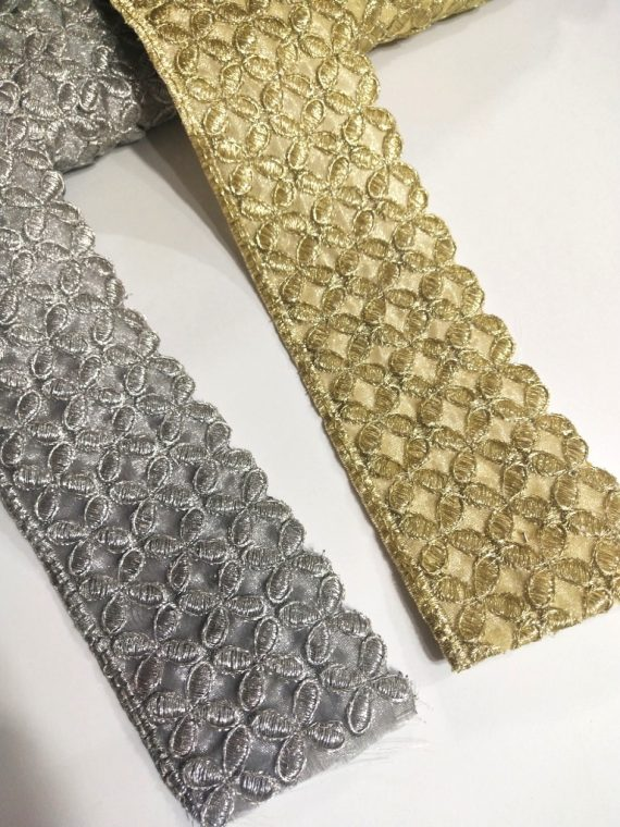 Small Flower Edge Cut Metallic Embroidered Trim (8.6mtrs)