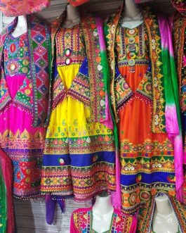 Heavy Embroidery Afghani Dress Multi Colors