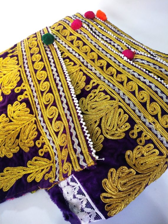 Afghan Golden Embroidery Vintage Lace