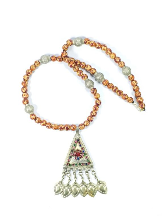 Turkman Wooden Beads & Old Pendant Necklace