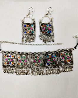 Antique Style Multi Colour Necklace & Ear Ring